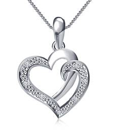 """Buy valentine gifts for girlfriend Heart Design Pendant in Sterling Silver 925 Platinum Plated With 18"""" Chain Pendant online"""