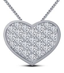Buy Platinum Plated 925 Sterling Silver Round Cut White Cubic Zirconia Heart Shape Pendant With Chain moissanite-pendant online