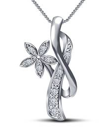 Buy Admirable Flower White Cubic Zirconia Girl's Pendant With Chain in Platinum Plated .925 Silver Pendant online