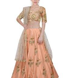 Buy Peach embroidered art silk unstitched lehnega with dupatta lehenga-choli online