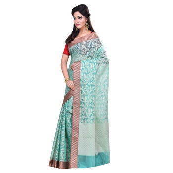 Sea green woven organza saree with blouse