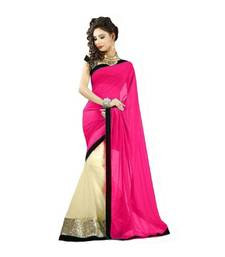 Buy Pink plain georgette saree with blouse bollywood-saree online