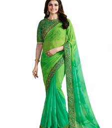 Buy Green embroidered georgette saree with blouse bollywood-saree online