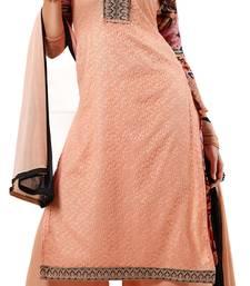 Buy Peach embroidered net semi-stitched salwar with dupatta party-wear-salwar-kameez online
