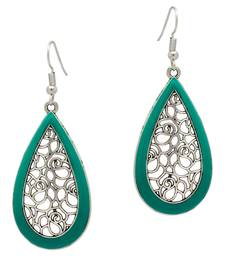 Buy Green Color Silver Plated Traditional Drop Earrings danglers-drop online
