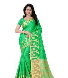 Buy Green printed poly cotton saree with blouse cotton-saree online