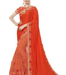 Buy Orange woven silk blend saree with blouse south-indian-saree online