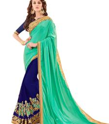 Buy Royal blue embroidered silk blend saree with blouse south-indian-saree online