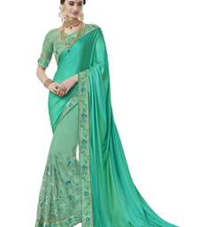 Buy Sea green woven silk blend saree with blouse south-indian-saree online