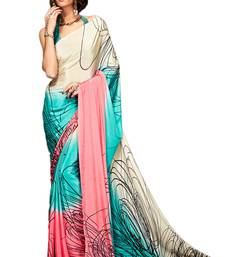 Buy Sea green printed silk blend saree with blouse south-indian-saree online
