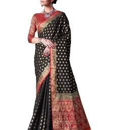 Buy Black woven nylon saree with blouse hand-woven-saree online