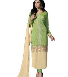 Buy PARROT & CREAM LYCRA EMBROIDERED SEMI-STITCHED STRAIGHT SUIT semi-stitched-salwar-suit online