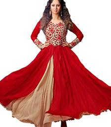 Buy RED & BEIGE SILKY NET EMBROIDERED SEMI-STITCHED ANARKALI SUIT semi-stitched-salwar-suit online