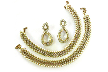 White colour Anklets & Traditional Earring
