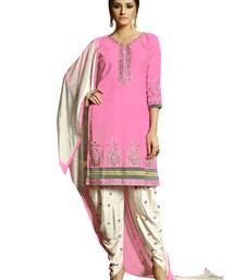 Buy Pink resham_embroidery blended_cotton unstitched salwar with dupatta dress-material online