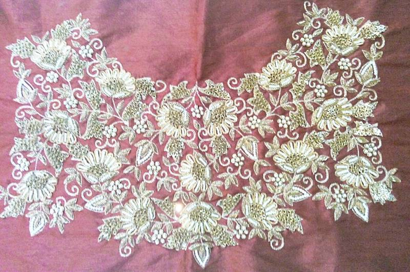 Buy Heavy Hand Embroidered Un Stitched Maroon Dupion Silk