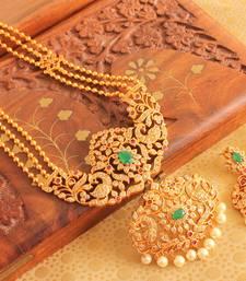 Buy AWESOME MATTE FINISH SEMIPRECIOUS RUBY-EMERALD PEACOCK SHORT HAAR SET -DJ12947 necklace-set online