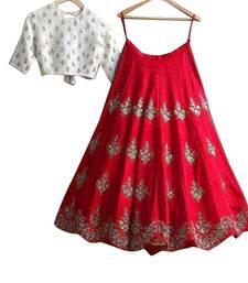 Buy Red embroidered silk unstitched lehenga lehenga-choli online