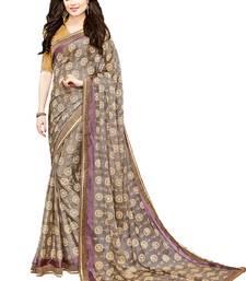 Buy Grey printed brasso saree with blouse brasso-saree online