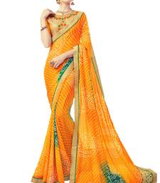 Buy Yellow printed georgette saree with blouse wedding-saree online