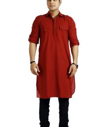 Buy Men's Cotton Solid Maroon Colour Long Length Pathani Kurta men-kurta online