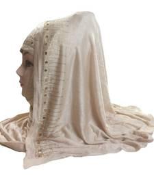 Buy Beige diamond stone work hoisery cotton women's headscarf hijab online