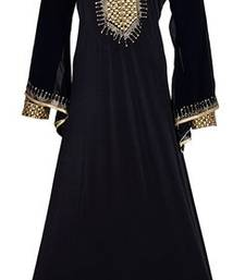 Buy Black colour diamond stone work strechable lycra fully stitched burkha burka online
