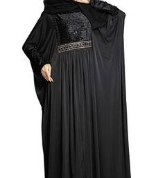 Buy Black colour diamond stone work strechable lycra fully stitched free size abaya burka online