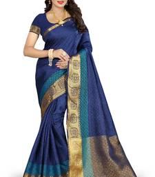 Buy Blue woven nylon saree with blouse banarasi-saree online