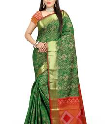 Buy green woven patola saree with blouse patola-sari online