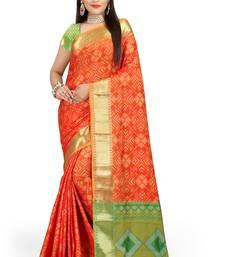 Buy orange woven patola saree with blouse patola-sari online