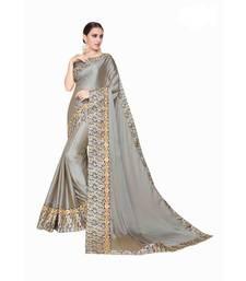 Buy Grey embroidered silk saree with blouse silk-saree online