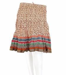 Buy multicolorcolor Base Handblock Print Mini Cotton Skirt skirt online