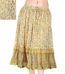 Buy Sanganeri Floral Green Chiffon Short Skirt skirt online