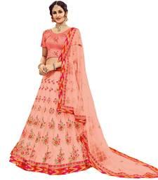 Buy Peach embroidered net unstitched lehenga with dupatta bridal-lehenga online
