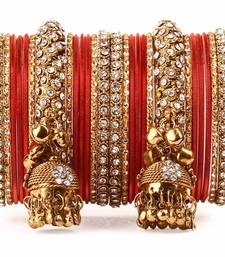 Buy Traditional shining bangle Jhumki Bangle set for Two Hands by Orange bangles-and-bracelet online