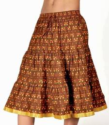 Buy Rajasthani Brown and Yellow Cotton Short Skirt skirt online