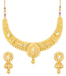 Buy Sukkhi Classy Gold Plated Choker Necklace Set for women necklace-set online