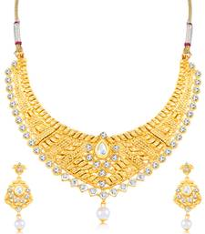 Buy Sukkhi Beguiling Gold Plated Choker Necklace Set for women necklace-set online
