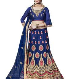 Buy Blue embroidered net unstitched lehenga with dupatta lehenga online