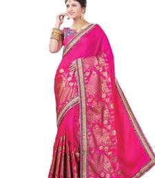 Buy Magenta woven silk saree with blouse wedding-saree online