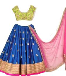 Buy Blue embroidered silk semi stitched lehenga with dupatta lehenga-below-2000 online