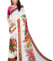 Buy White printed georgette saree with blouse Woman online