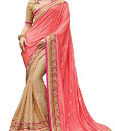 Buy Peach embroidered viscose saree with blouse designer-embroidered-saree online