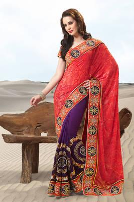 Multi Colored Viscose+Velvet Sari