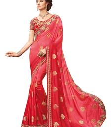 Buy Red embroidered silk saree with blouse designer-embroidered-saree online