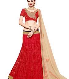 Buy Red embroidered net unstitched lehenga with dupatta bridal-lehenga online
