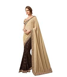 Buy Beige embroidered brasso saree with blouse designer-embroidered-saree online