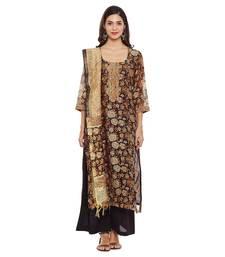 Buy Brown printed chanderi salwar with dupatta dress-material online