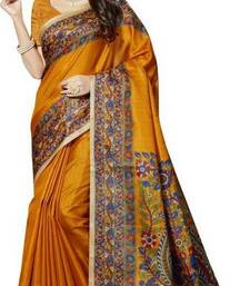 Buy   mustard printed bhagalpuri cotton saree with blouse kalamkari-saree online